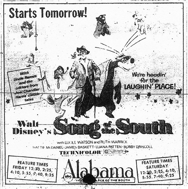 SONG OF THE SOUTH BOX OFFICE 1972