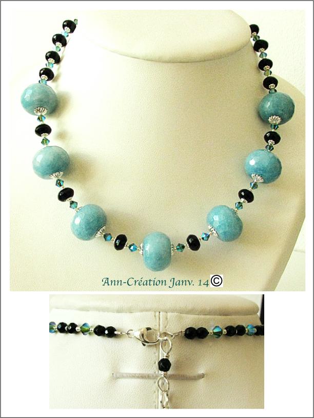 Collier Calcite BLeue, Onyx / Argent 925 & Plaqué argent - Blue Calcite Necklace
