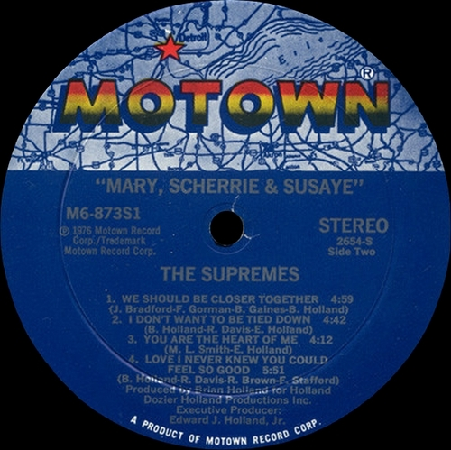 "The Supremes : Album "" Mary , Scherrie & Susaye "" Motown Records M6 873S1 [ US ]"