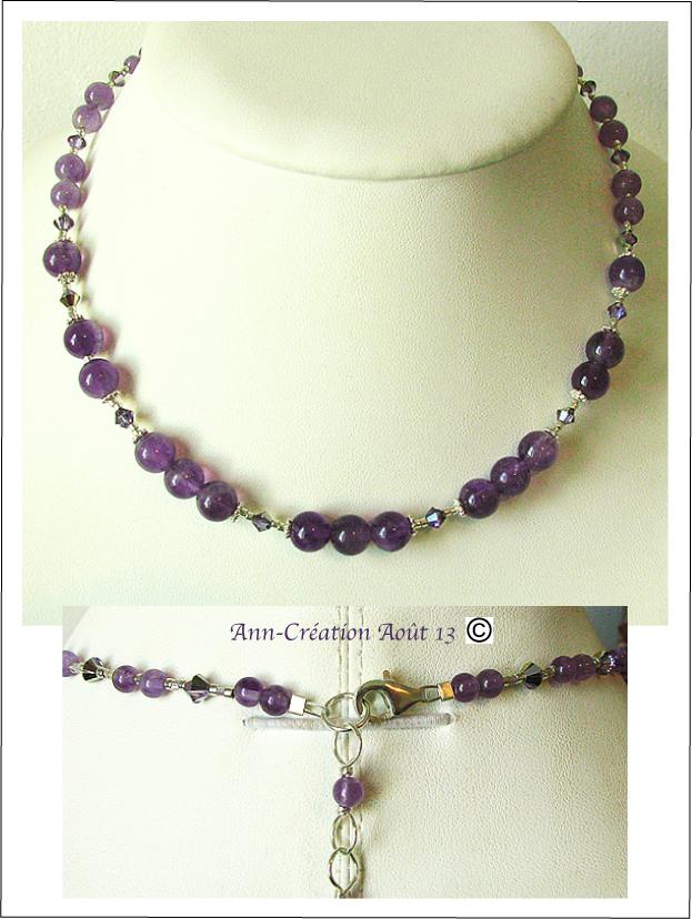 Collier Améthyste, Cristal de Swarovski, Argent 925 / Amethyst necklace