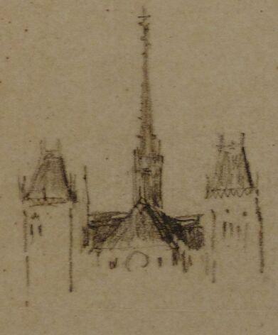 Dessin d'architecte esquissant une cathédrale surmontée de flèches.