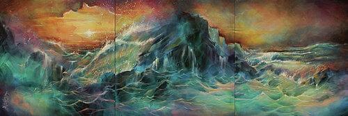 Dessin et peinture - vidéo 1915 - Démonstration en triptyque d'une peinture abstraite à l'acrylique - soleil couchant sur mer agitée.
