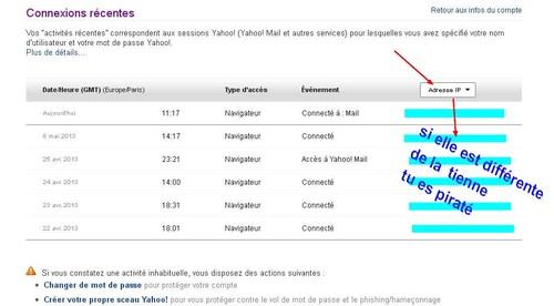 controler l'adresse IP de ses connection yahoo