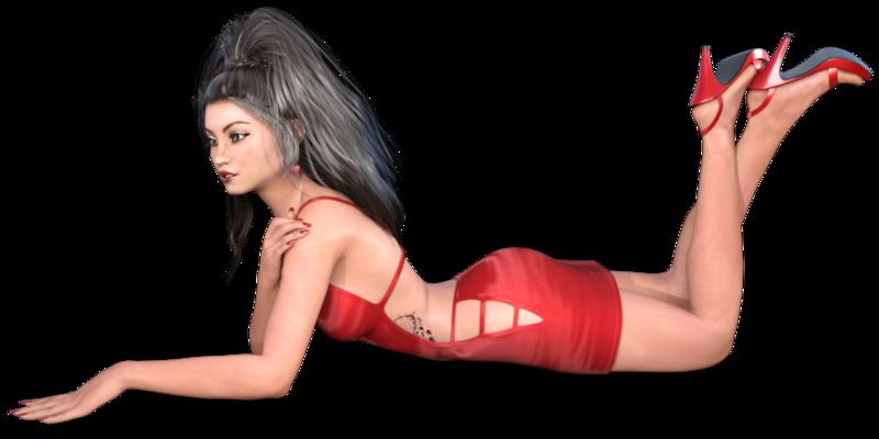 Tube de femme en robe rouge (image)