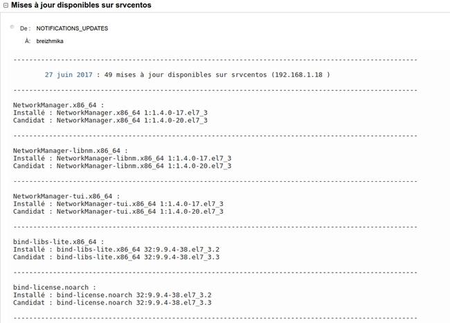 Script de notifications de mises à jour sur Debian Stretch et Centos 7