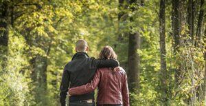 books autumn couple autumn park forest road field