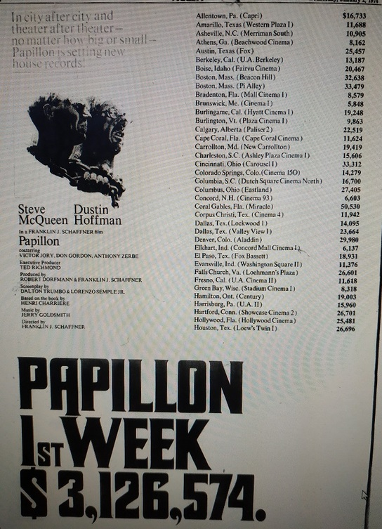 PAPILLON BOX OFFICE USA 1973