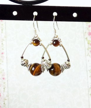 Boucles créoles Pierre Oeil du tigre sur argent 925 - Tiger eye stone on sterling silver earrings