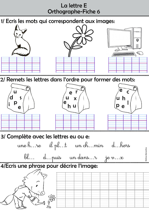 Les exercices d'orthographe