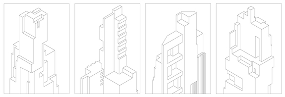 towers, dessin, building, typologie, art, illustration, immeuble, ligne