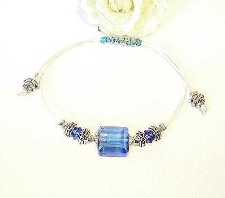 Bracelets Coulissants Ecru / Bleu - Macramé et Cristal / Plaqué argent
