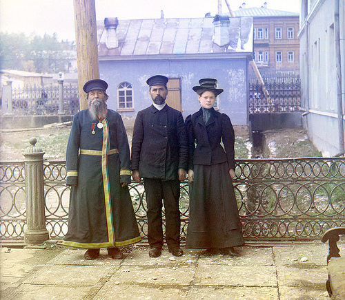 Sergey Mikhaylovich Prokudin-Gorsky / Three generations, A.P. Kalganov with his son and granddaughter