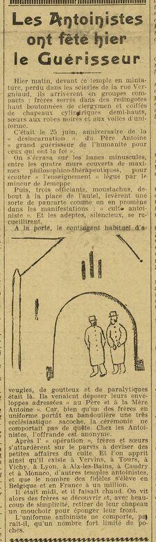 Les Antoinistes ont fêté hier le Guérisseur (L'Œuvre, 26 juin 1924)