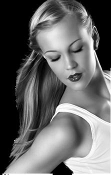 portrait de femme blonde en noir et blanc. Black Bedroom Furniture Sets. Home Design Ideas