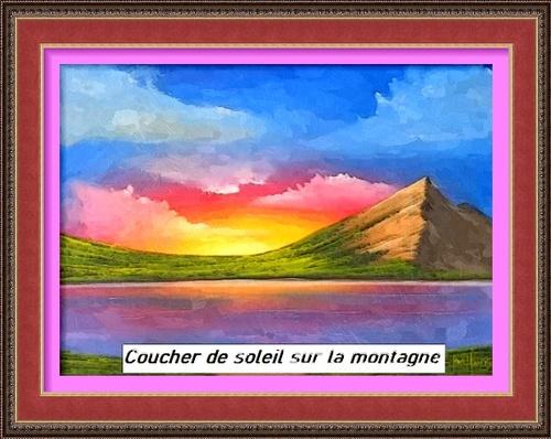 Dessin et peinture - vidéo 2949 : Coucher de soleil sur la montagne - acrylique ou huile.