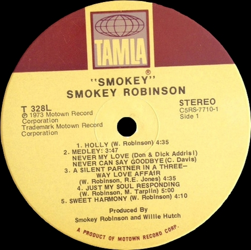 "Smokey Robinson Album "" Smokey "" Tamla Records T 328L [ US ]"