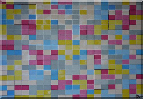 Composition de damier, couleurs pastel