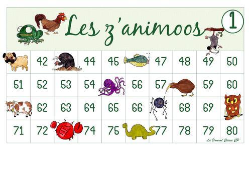 Tableaux de nombres les z'animoos