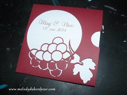 Faire part pochette thème vin