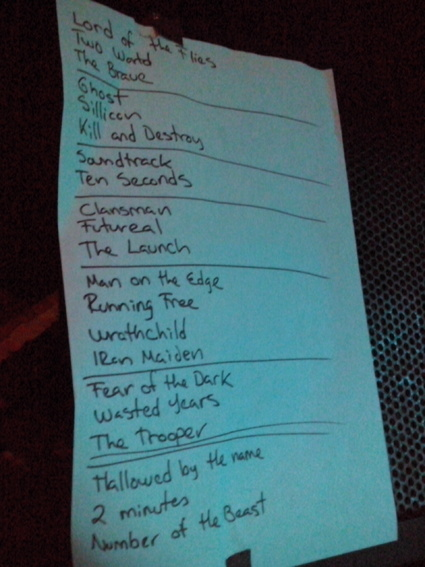A glimpse at Blaze Bayley's regular set list