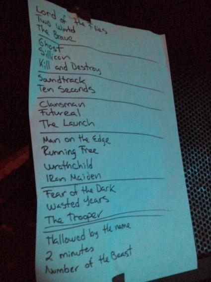 A glimpse at Blaze Bayley's regular set list