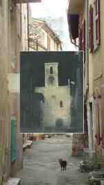 rue du BOULEVARD et fronton de l'église années 1960;