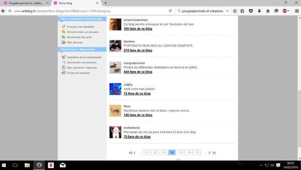 """Capture liste interne """" Vous aimez leur blog"""" avec photos, avatar... page-14"""