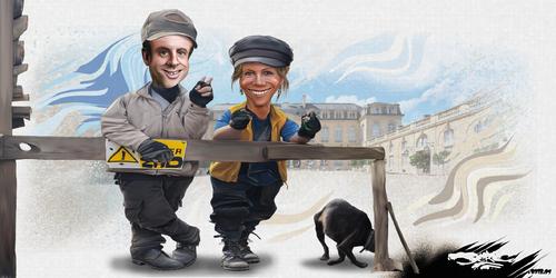 dessin de JERC du lundi 22 janvier 2018 caricature Emmanuel-Macron-Brigitte-Macron Zozo A Dégager www.facebook.com/jercdessin