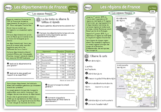 MAJ : Géographie CM1, régions, départements