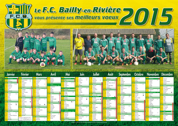 Le calendrier du Football Club de Bailly en Rivière