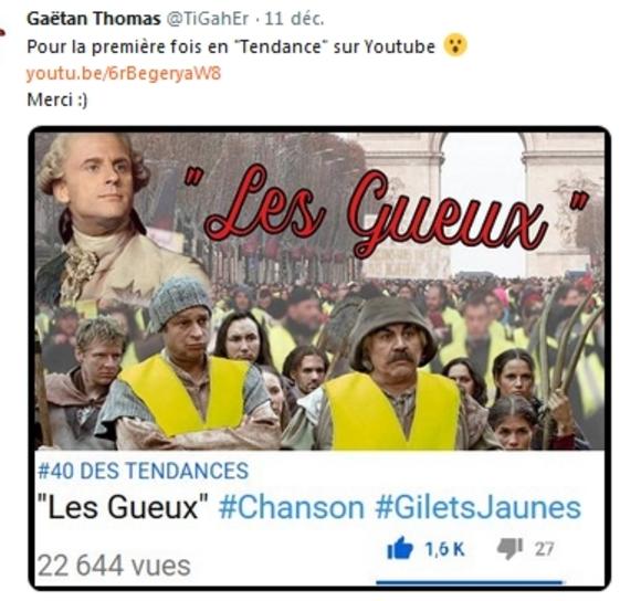 Coup de foudre pour Les Gilets Jaunes (Les gueux) de Gaëtan Thomas talentueux chanteur