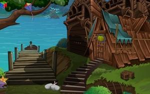 Jouer à ENA Wooden house in lake
