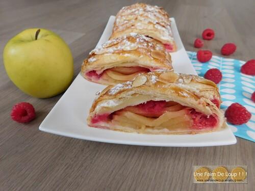 Tresse feuilletée pomme framboise