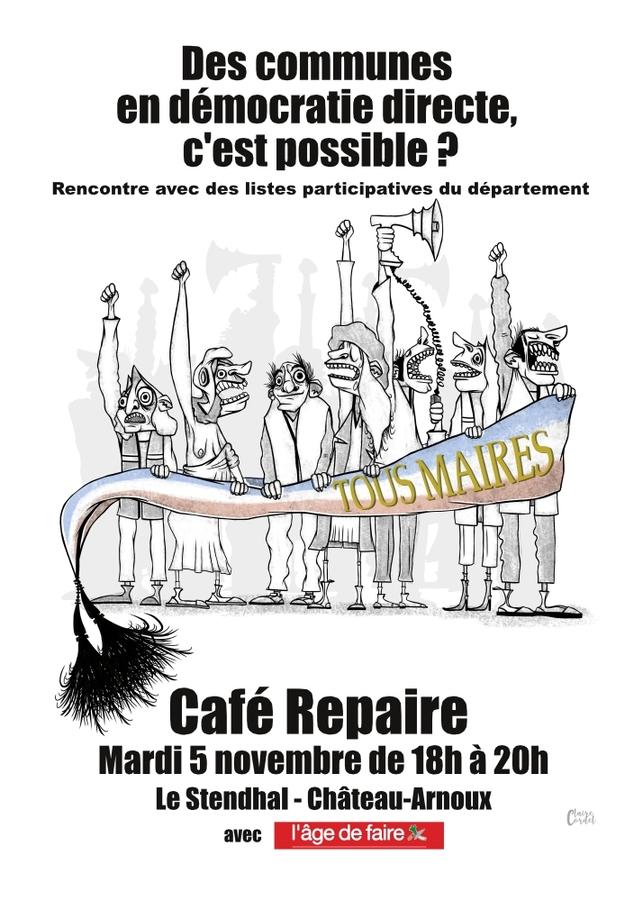 *Café Repaire Mardi 5 novembre de 18h à 20h Le Stendhal  ChâteauArnoux