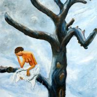 L'isolement - Huile sur bois - 0,50 x 0,40