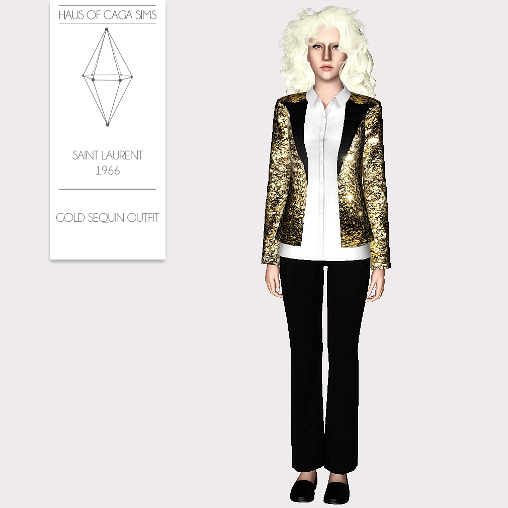 SAINT LAURENT 1966 GOLD SEQUIN OUTFIT