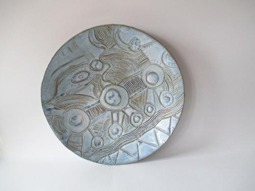 grand plat bleu-grès-céramique-michel cornut-atelier des lisières