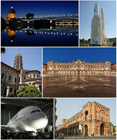 De haut en bas et de gauche à droite: le pont Saint-Pierre, une réplique de la fusée Ariane 5 à la Cité de l'espace, la basilique Saint-Sernin, la place du Capitole, le premier Airbus A380 et le musée des Augustins.