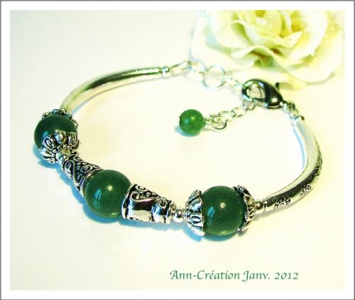 Bracelet Perles de Jade Vert / Métal argenté & Plaqué argent