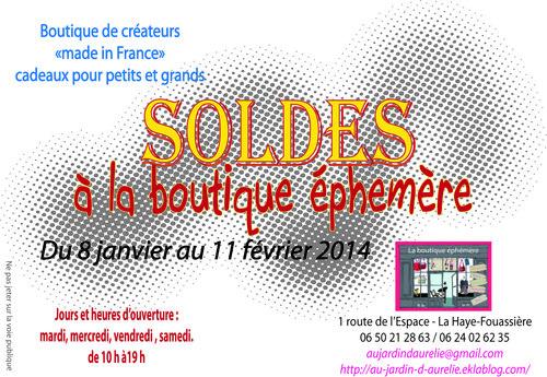 SOLDES A LA BOUTIQUE EPHEMERE A PARTIR DU 8 JANVIER 2014