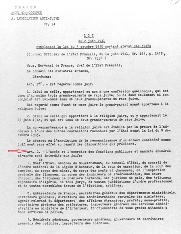 La loi du 3 octobre 1940 portant statut des Juifs : l'exclusion des professeurs Juifs de la fonction publique