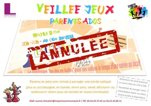 Vendredi 13 mai: veillée jeux parents - ados