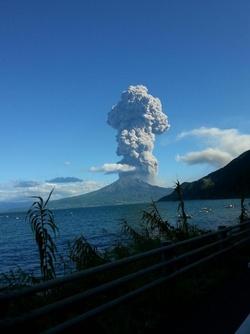 Eruption du Volcan Sakurajima au Japon le 18 aout2013