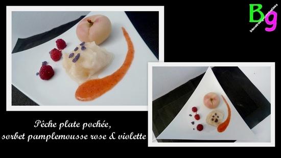 peche plate, sorbet pamplemousse violette