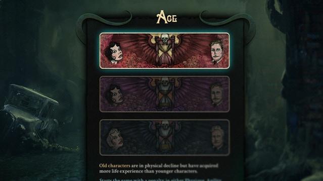 Un segment de l'écran de création de personnage