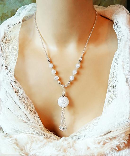 V1 - Collier pendentif pierre de quartz blanc rubassé (craquelé) et Cristal de Swarovski / Fermoir mousqueton plaqué argent