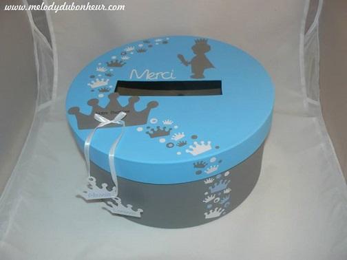 Urne baptême prince et couronne bleu et gris