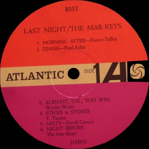 "The Mar-Keys : Album "" Last Night ! "" Atlantic Records 8055 [ US ] en 1961"