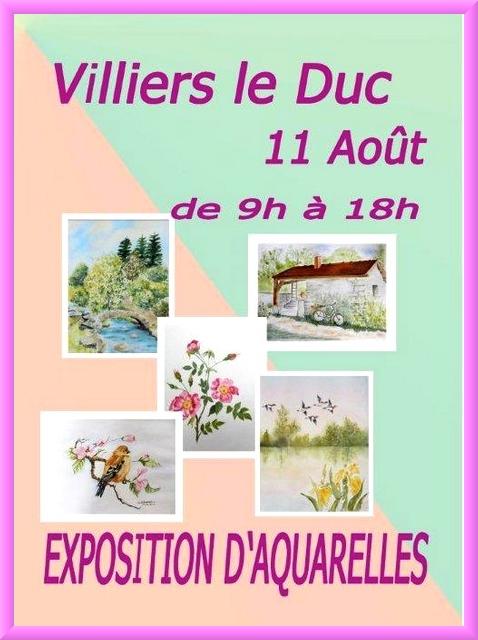L'exposition des aquarellistes de Villiers le Duc, aura lieu le jour du Marché Gourmand...