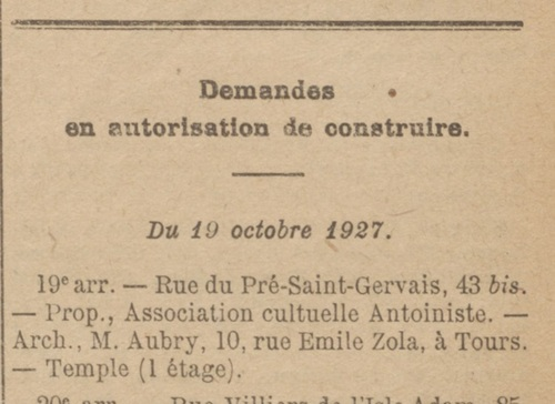 Construction rue du Pré Saint-Gervais (Bulletin municipal officiel de la Ville de Paris 21 oct 1927)